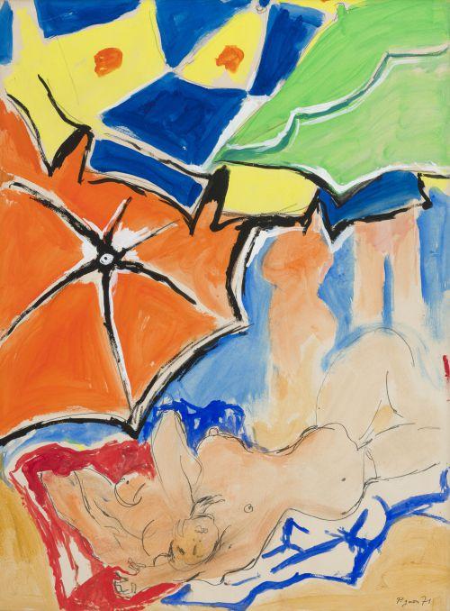 édouard Pignon (1905-1973), Nu aux parasols et à la serviette bleue, 1971, aquarelle et gouache sur papier, Signée et datée en bas à droite, 80 x 60 cm.