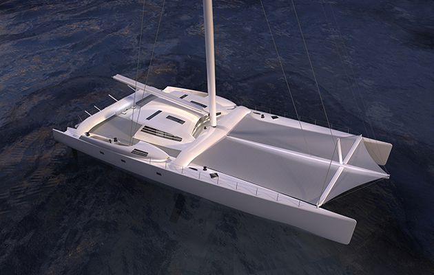 Mise à l'eau à Vannes de Vitalia II, le catamaran de plaisance le plus rapide du monde