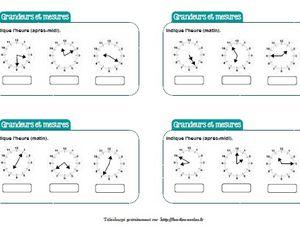 Chronofiches : Lecture de l'heure et mesure de durées CE2-CM1-CM2
