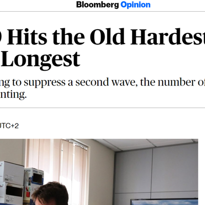 Article 15 Octobre 2020 - Bloomberg Opinion - Covid-19 Hits the Old Hardest, But the Healthy Longest