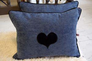Coussins bleu jean à coeurs
