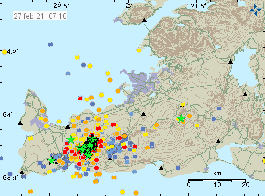 Reykjanes Peninsula - location and magnitude of earthquakes as of 02/27/2021 / 7:10 am - Doc. IMO
