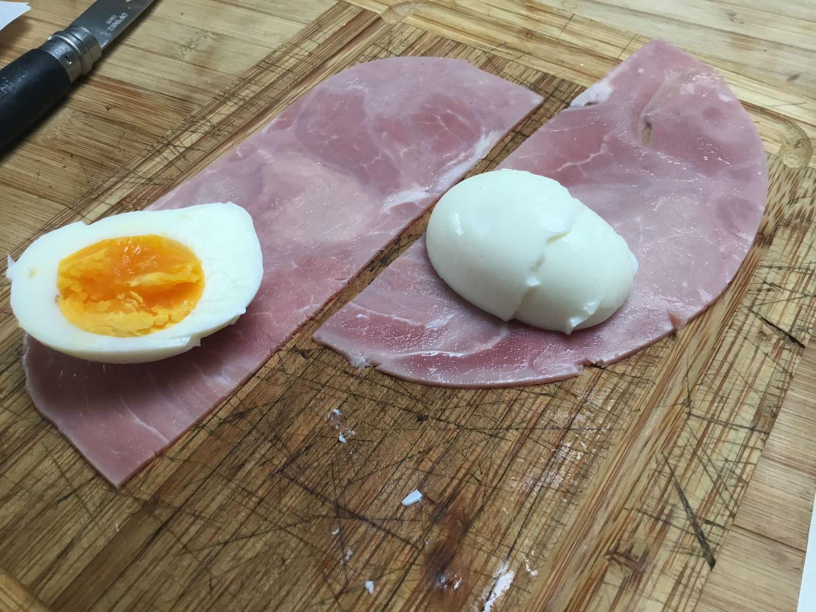 Gratin d'œufs durs au jambon