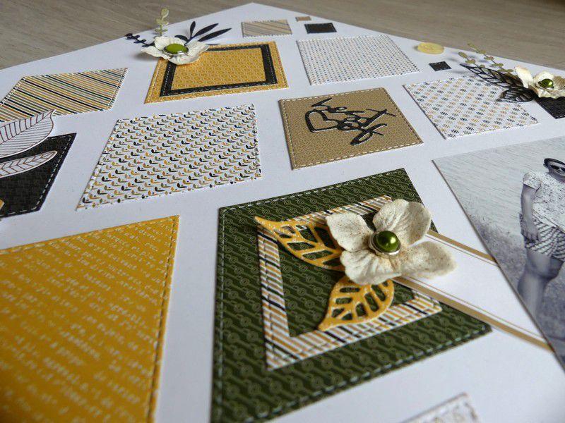 """Val49 : Page Happy et deux cartes avec les dies géométriques """"losanges"""""""