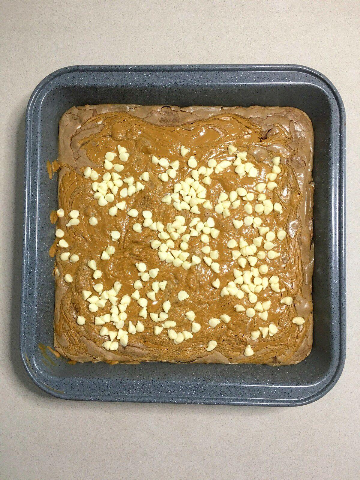 Brownie aux pépites de chocolat blanc et pâte de spéculoos