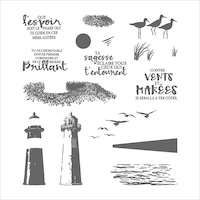 143462 Marée montante  tampon stampin up mer phare plage nature oiseau
