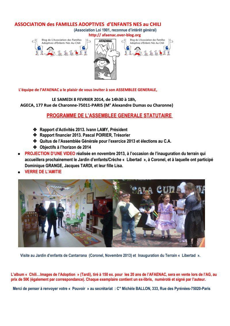 L'AFAENAC vous invite à son assemblée générale le 8 février 2014
