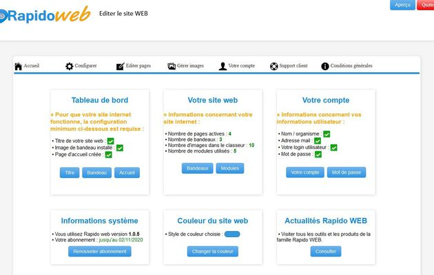 Nouvelle version du CMS Rapido WEB