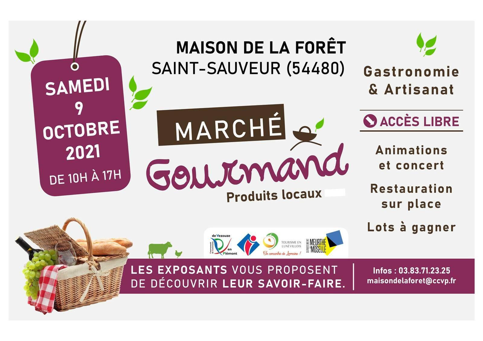 Saint Sauveur ( 54) traditionnel marché gourmand automnal Samedi 9 octobre
