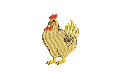 BRODERIE POULE JAUNE