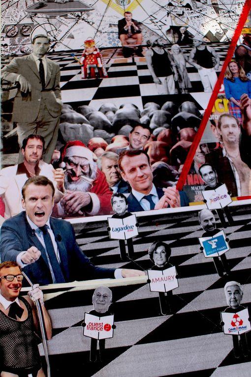 Collage en cours, techniques mixtes, vu sur le net : extraits. 2018/2019