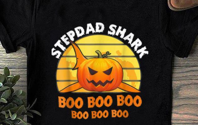 Top Mens Mens Stepdad Shark Boo Pumpkin Halloween Gift shirt