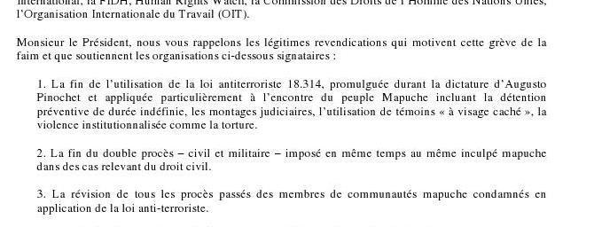 Mapuche - Terre et Liberté pour Arauco : lettre adressée au président Sebastian Piñera et remise à l'Ambassadeur du Chili en France