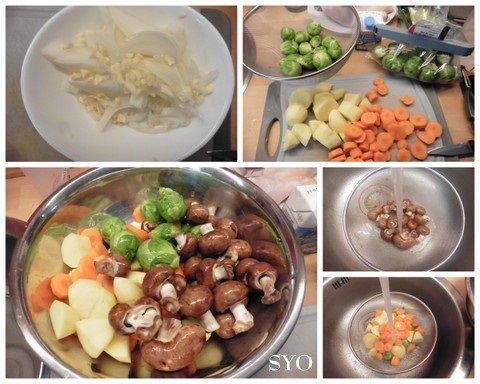 Cuisses de poulet aux Choux de Bruxelles et légumes frais,  au Cookeo