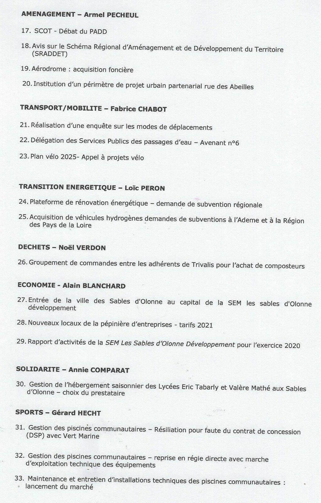 LES SABLES D'OLONNE AGGLOMÉRATION : CONSEIL COMMUNAUTAIRE DU JEUDI 1er AVRIL 2021