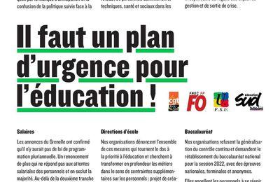 Il faut un plan d'urgence pour l'éducation !