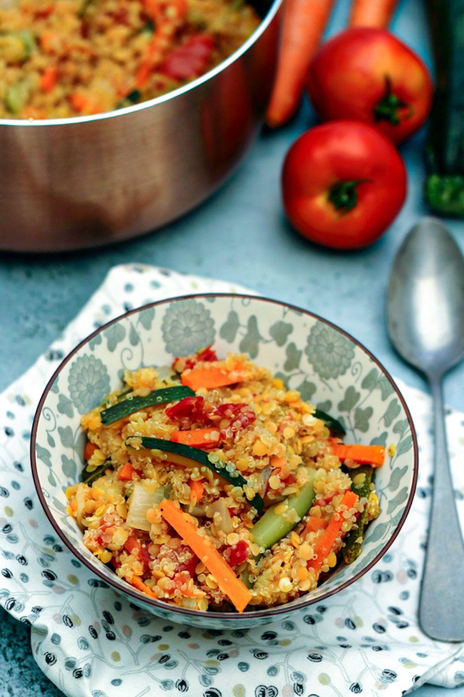 quinoa aux lentilles corail et légumes