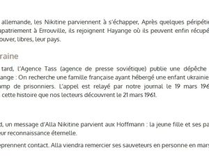 L'histoire d'Alla NIKITINE, sauvée  en 1944 à Algrange