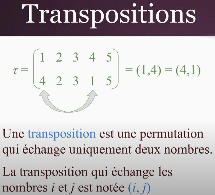 POST BAC - GROUPE SYMETRIQUE - Définition d'une transposition