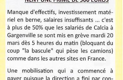 CALCIA. LES SALARIÉS OBTIENNENT UNE PRIME DE 500 EUROS