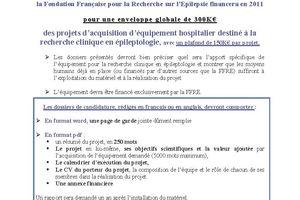 Appel à projets de recherche en épileptologie 2011 - FFRE