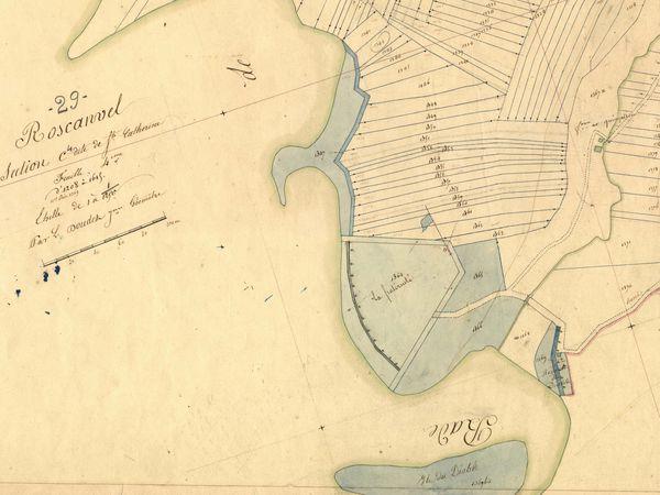 Différentes vues de la portion de retranchement au nord du fort en 1831, 1854 et 1951 (Archives départementales du Finistère, Service historique de la Défense, IGN)