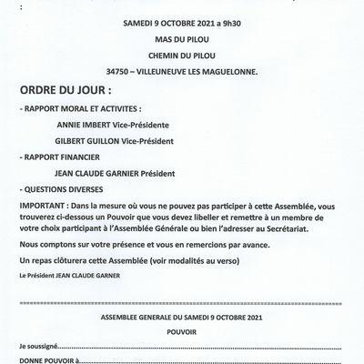 ASSEMBLEE GENERALE ET REPAS PILOU DU SAMEDI 9 OCTOBRE 2021