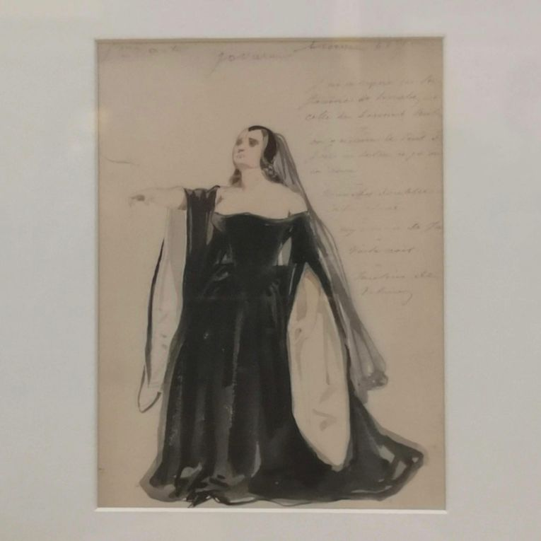 Paul Gavarni (1804-1866), Maquette du costume de Mlle George au Ve acte de Lucrèce Borgia, 1833, Aquarelle