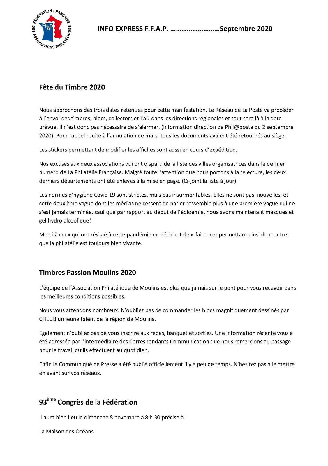 INFO EXPRESS F.F.A.P. ………………………Septembre 2020