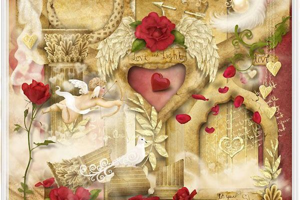 Kit de scrapbooking romantique : Love and Light by Createwings Designs