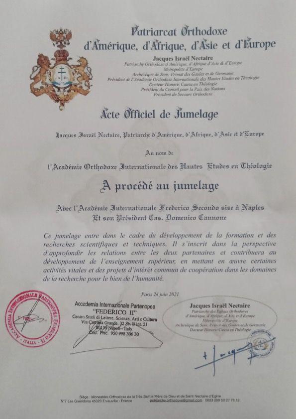 Jumelage de l'Académie avec l'Académie Frederico II