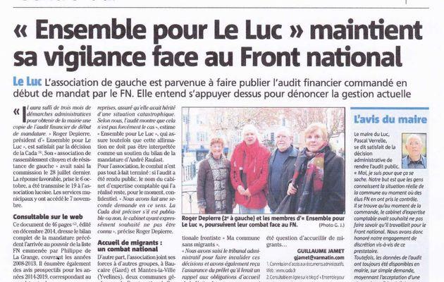 Ensemble pour Le Luc ; un rempart contre les dérives du FN. Rejoignez nous.