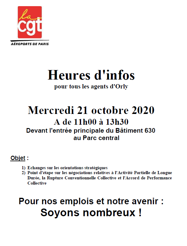 Heures info Orly le 21 octobre
