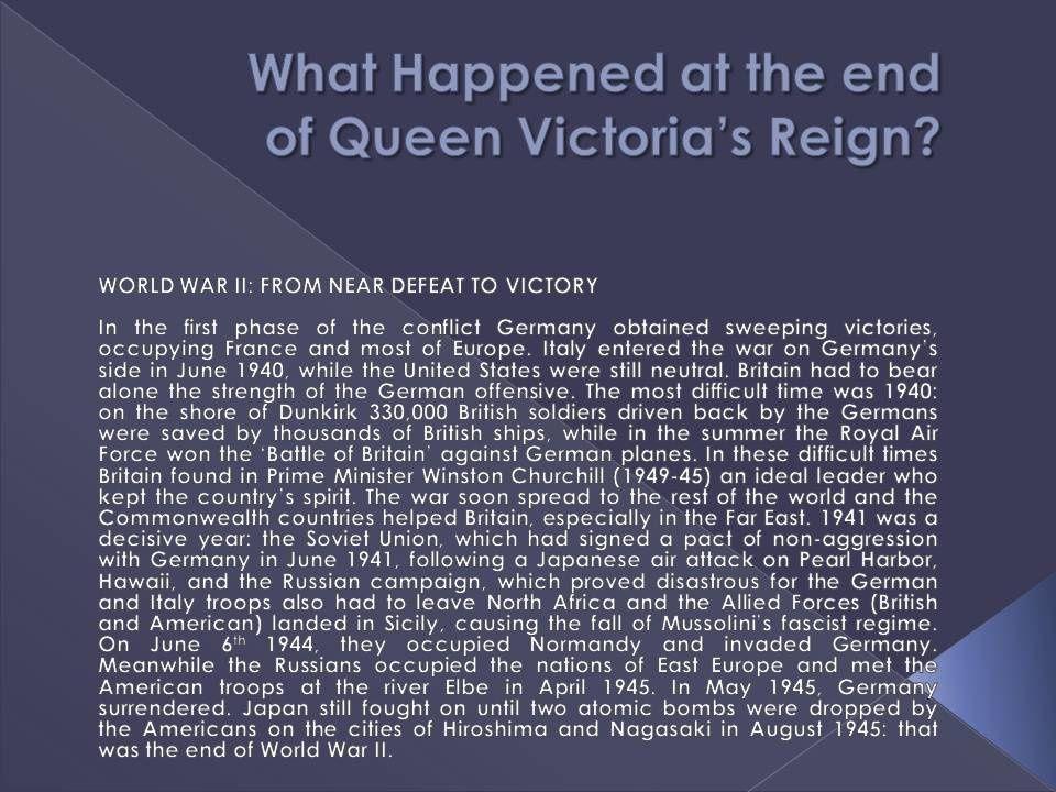 Cosa accade dalla fine del regno della regina Vittoria alla seconda guerra mondiale.