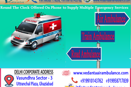 Vedanta Air Ambulance Service in Dibrugarh with Supportive Features and Advanced Service
