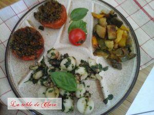 Encornets en persillade et ses tomates à la provençale