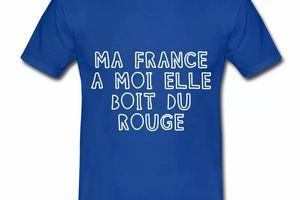 T shirt France Humour Ma France boit du rouge HBR