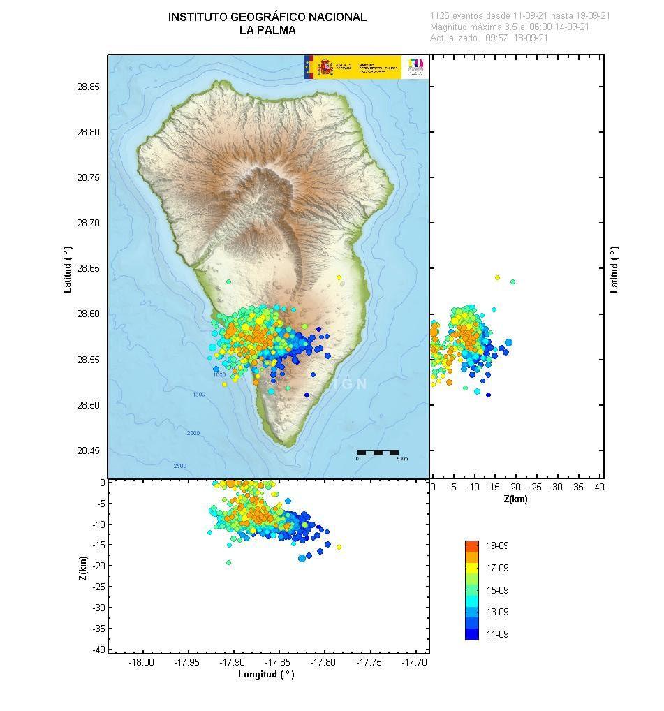 La Palma - seismic swarms at 18.09.2021 / 12h - IGNes