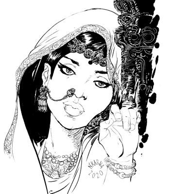 #inktober 2020 : Indian lady