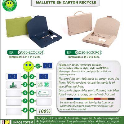 Mallette en carton recyclé avec porte-carte et attache stylo