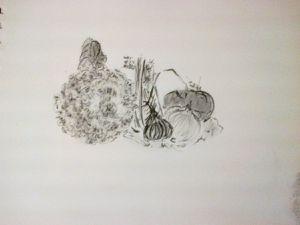Extraits de croquis de fin d'automne à la pierre noire et dessin à la sanguine