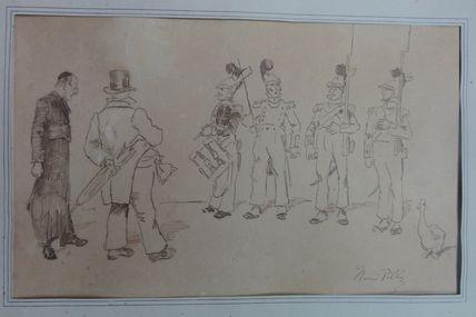 dessin à l'encre  de Henri Pille (1844 -1897 )  Maire ,Curé et Pompiers