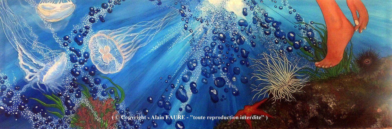 TALON - AIGUILLE Peinture Acrylique sur Toile: 120 x 40 cm......1700 € -  Au naturel ou avec un jus de citron, les oursins font partie des mets très appréciés en méditerranée. Excellents pour la santé car ils contiennent beaucoup de protéines et autres oligoéléments, ils n'en demeurent pas moins piquants pour le baigneur qui marcherait par malchance sur ses aiguilles. Sur la Côte Bleue la pêche de cette châtaigne des mers est très réglementée du 1er Novembre au 15 Avril.