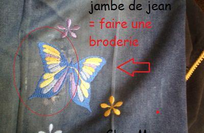 retouche : broderie sur usure de jean.
