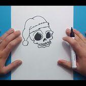 Como dibujar una calavera navideña paso a paso   How to draw a Christmas skull
