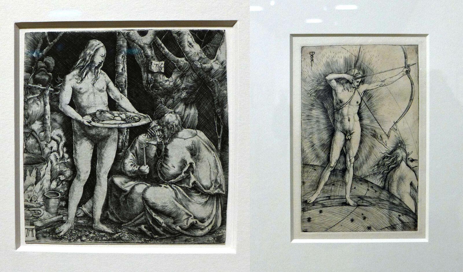 Albrecht Altdorfer, Tentation de deux ermites (1506), burin. Vienne, Albertina. / Jacopo de 'Barbari, Apollon et Diane (fin du XVe ?), burin. Paris, musée du Louvre, département des arts graphiques.