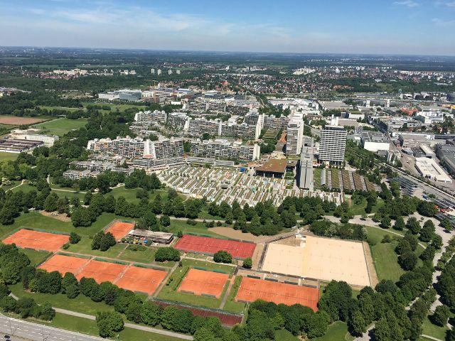 Vues de Munich d'en haut Tour Olympia Allemagne