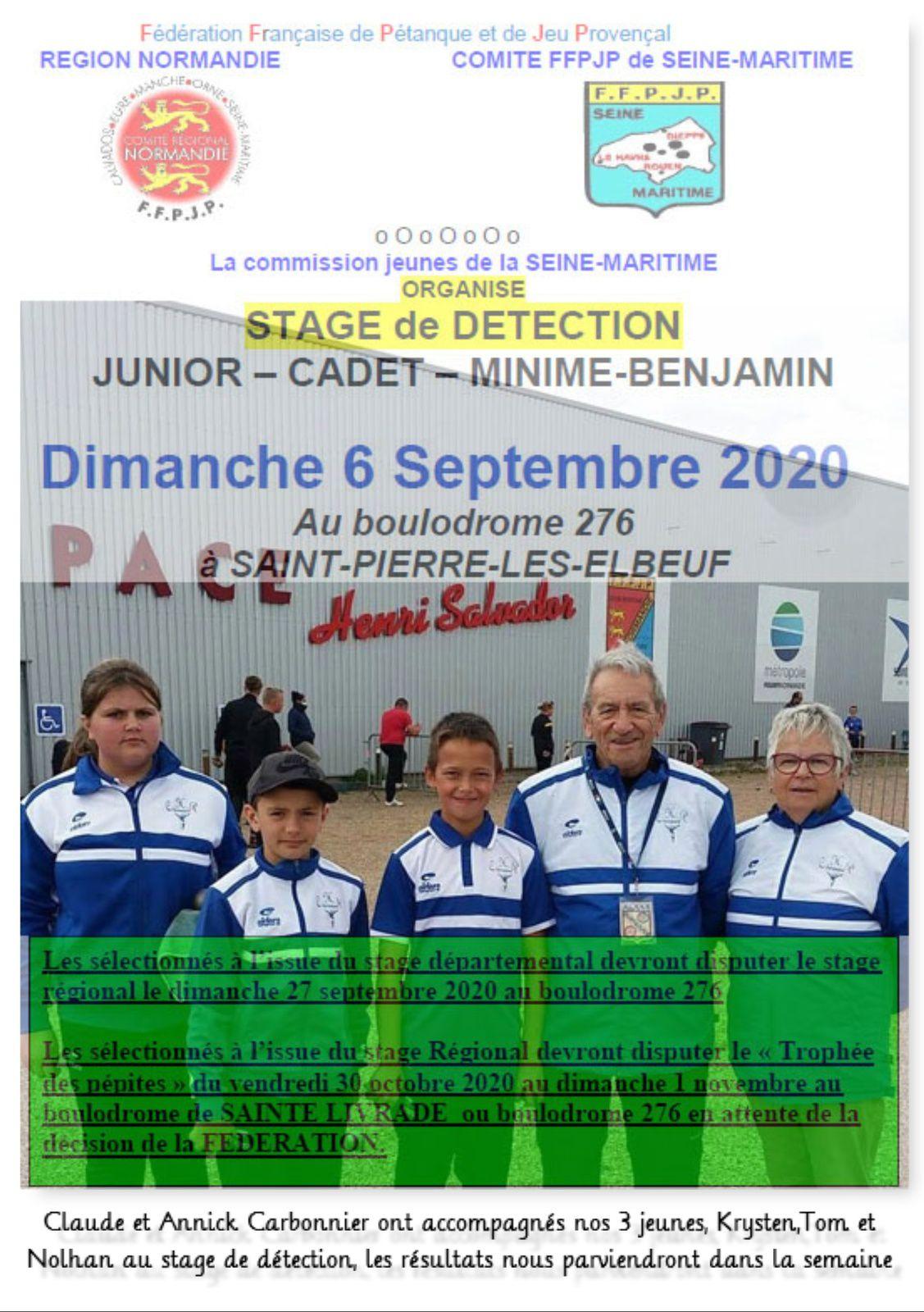 Stage de détection à St Pierre, dimanche 6 septembre 2020