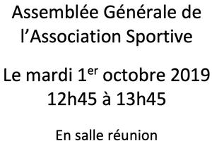 Assemblée générale de l'AS mardi 1er octobre 2019