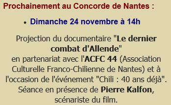 """Nantes - Chili, """"40 ans déjà"""" : dimanche 24 novembre, projection du """"Dernier Combat d'Allende"""""""